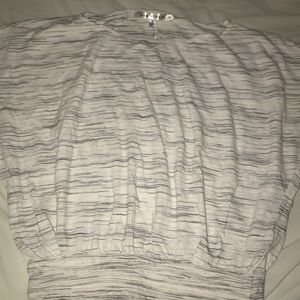 Gray and white short sleeve top